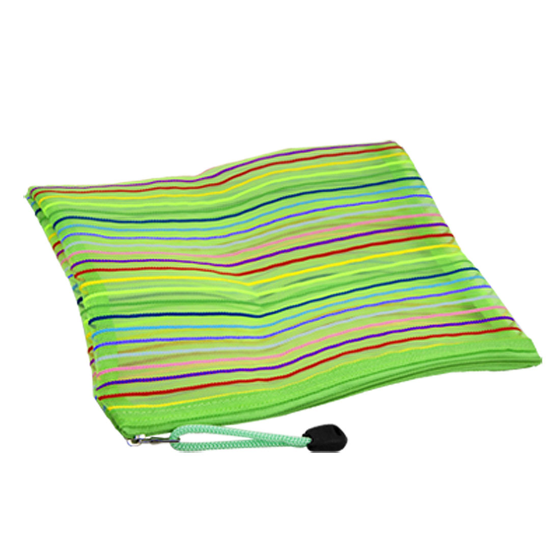 Meshy Style Green Stripes Pattern Nylon Zipper File Bag