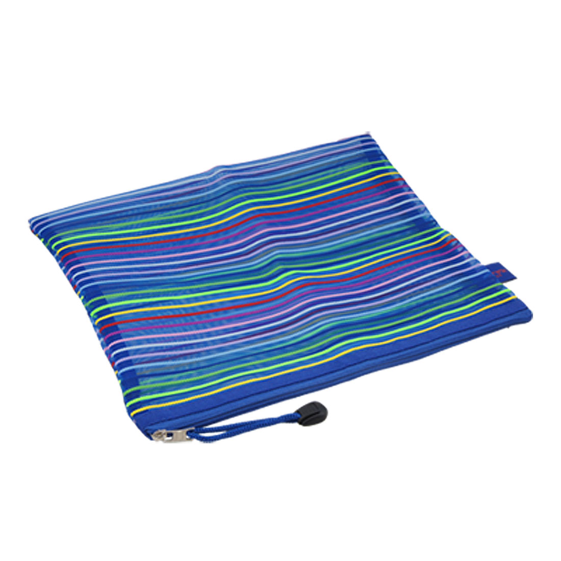 Blue Meshy Stripes Pattern Zipper Nylon Carrying File Bag
