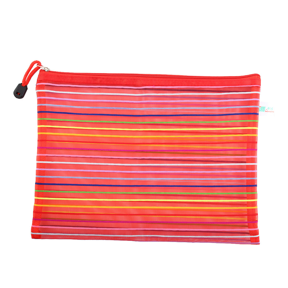 Red Meshy Style Multicolor Stripes Zipper Closure File Bag Holder