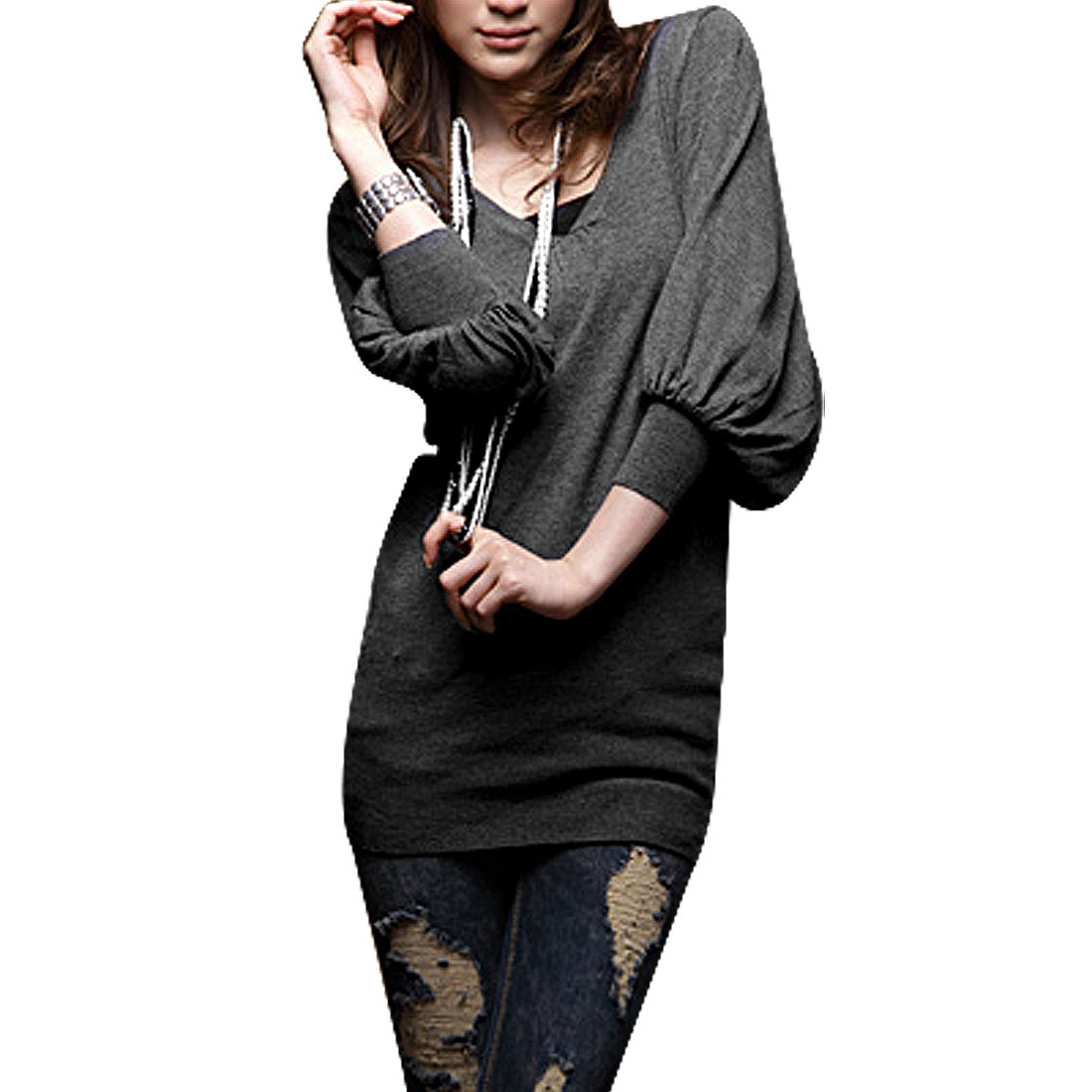 Lady Dark Gray Bishop 3/4 Sleeve V Neck Autumn T-shirt XS