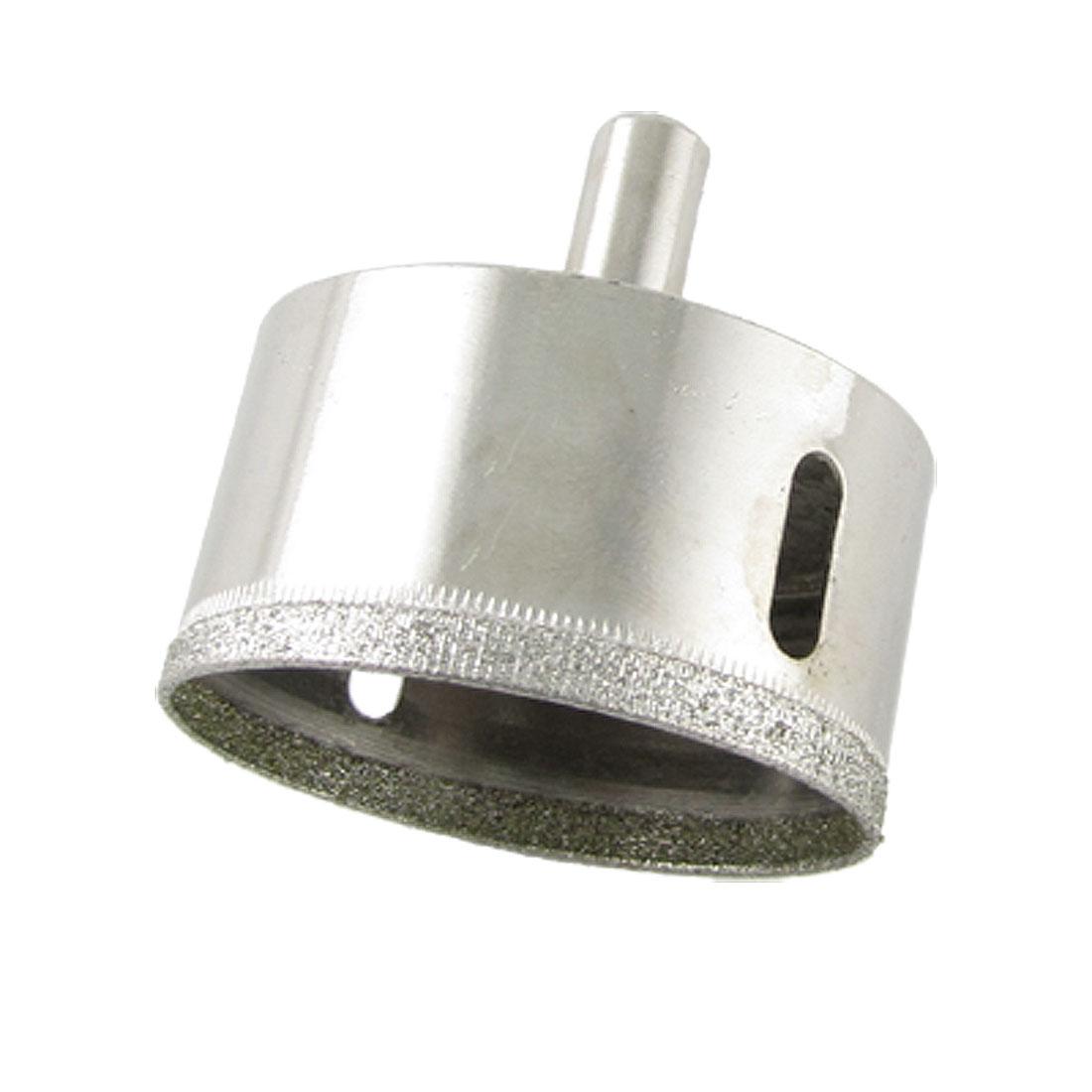 Silver Tone Straight Shank Diamond Tipped 55mm Dia. Glasses Hole Saw