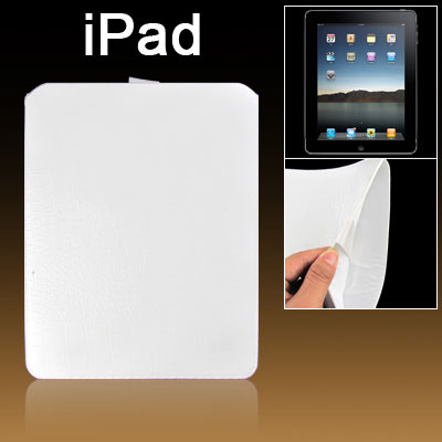 Hook and Loop Fastener Closure Faux Leather White Pull Up Sleeve for iPad 1