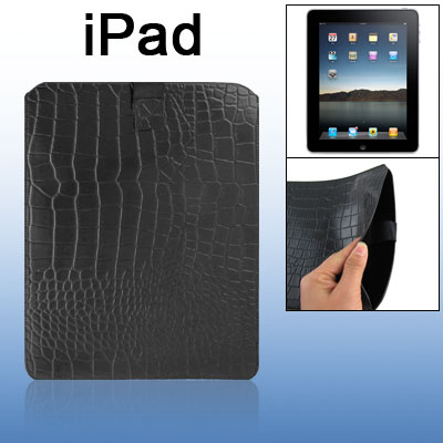 Hook and Loop Fastener Closure Faux Leather Crocodile Print Pull Up Sleeve Case Pouch for iPad 1