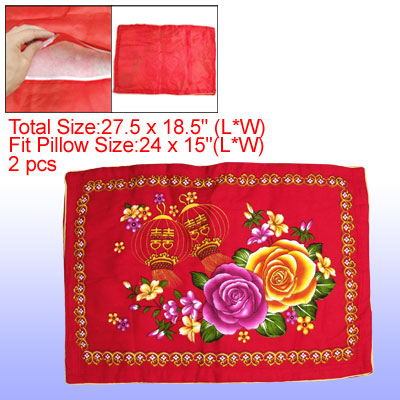 Household Flower Pattern Quilted Pillowcases Pillow Covers Red 2 Pcs