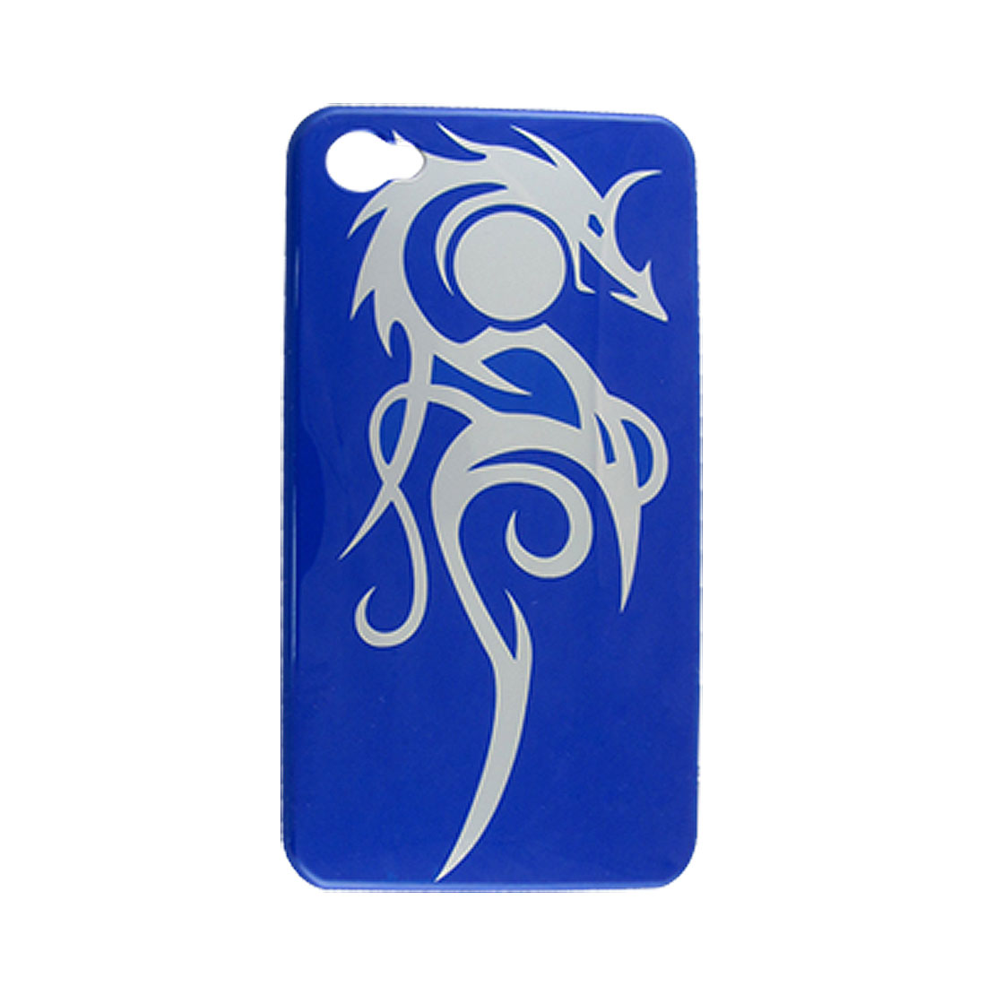 Blue Hard Plastic Silver Tone Dragon Prints Back Shell for iPhone 4 4G