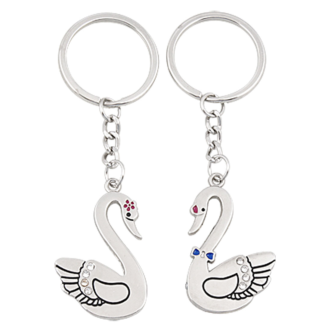 1 Pair Couple Goose Heart Designed Metal Keyring Chain for Lovers