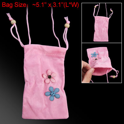 Floral Accent Pink Lanyards Drawstring Pouch for Cell Phone