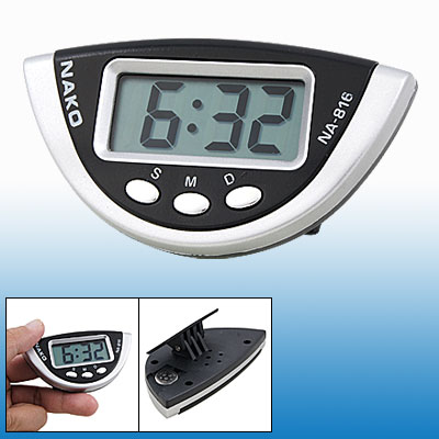 Desk Half Round Silver Tone Black Plastic Case Digital Clock