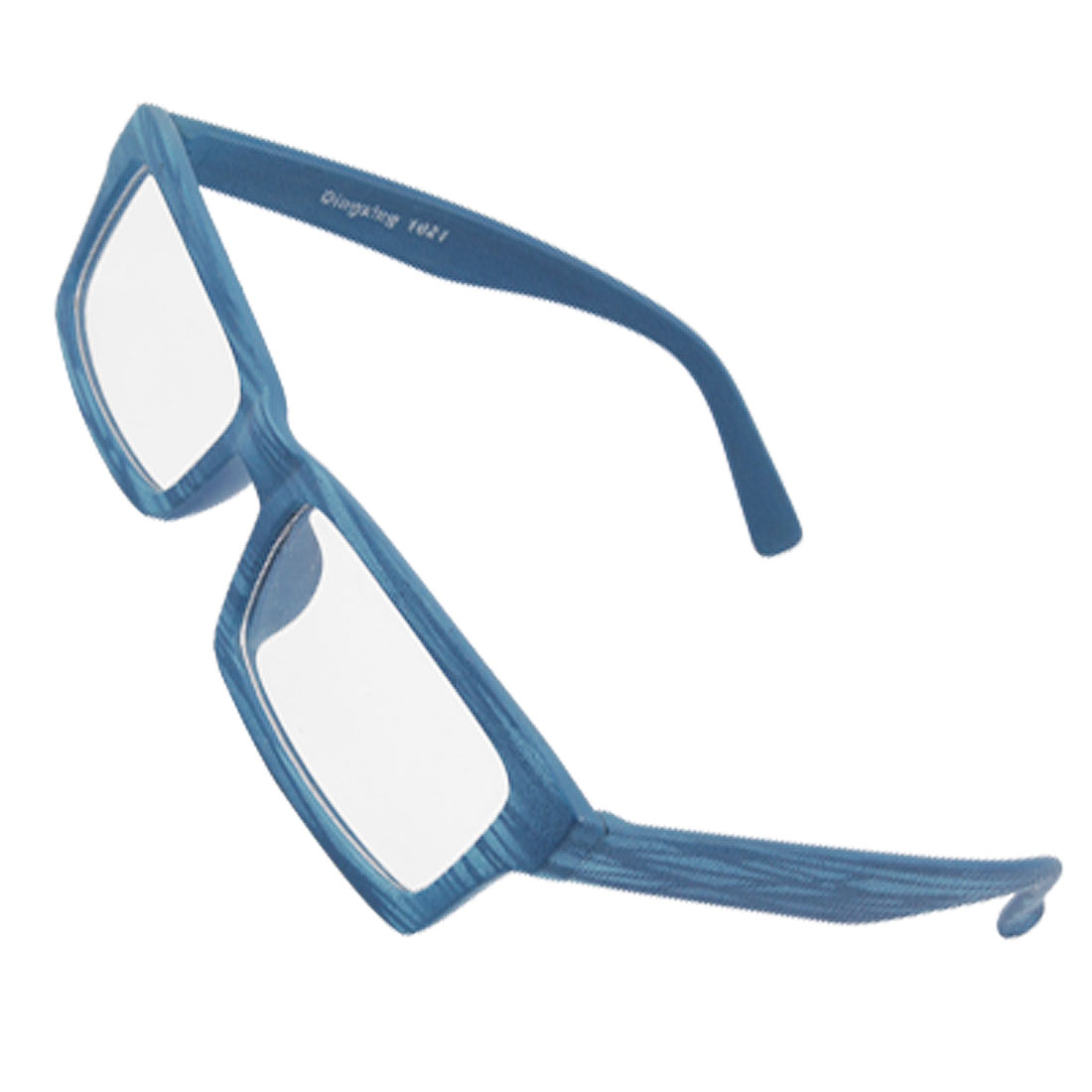 Adult Wood Pattern Blue Plastic Frame Clear Lens Plano Glasses
