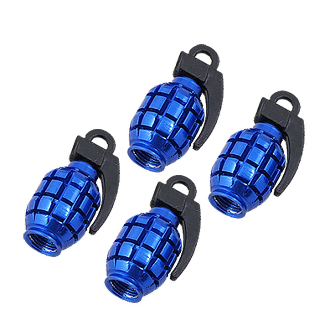 Car Tire Valve Caps Royal Blue Metal Plastic Cover 4 PCS