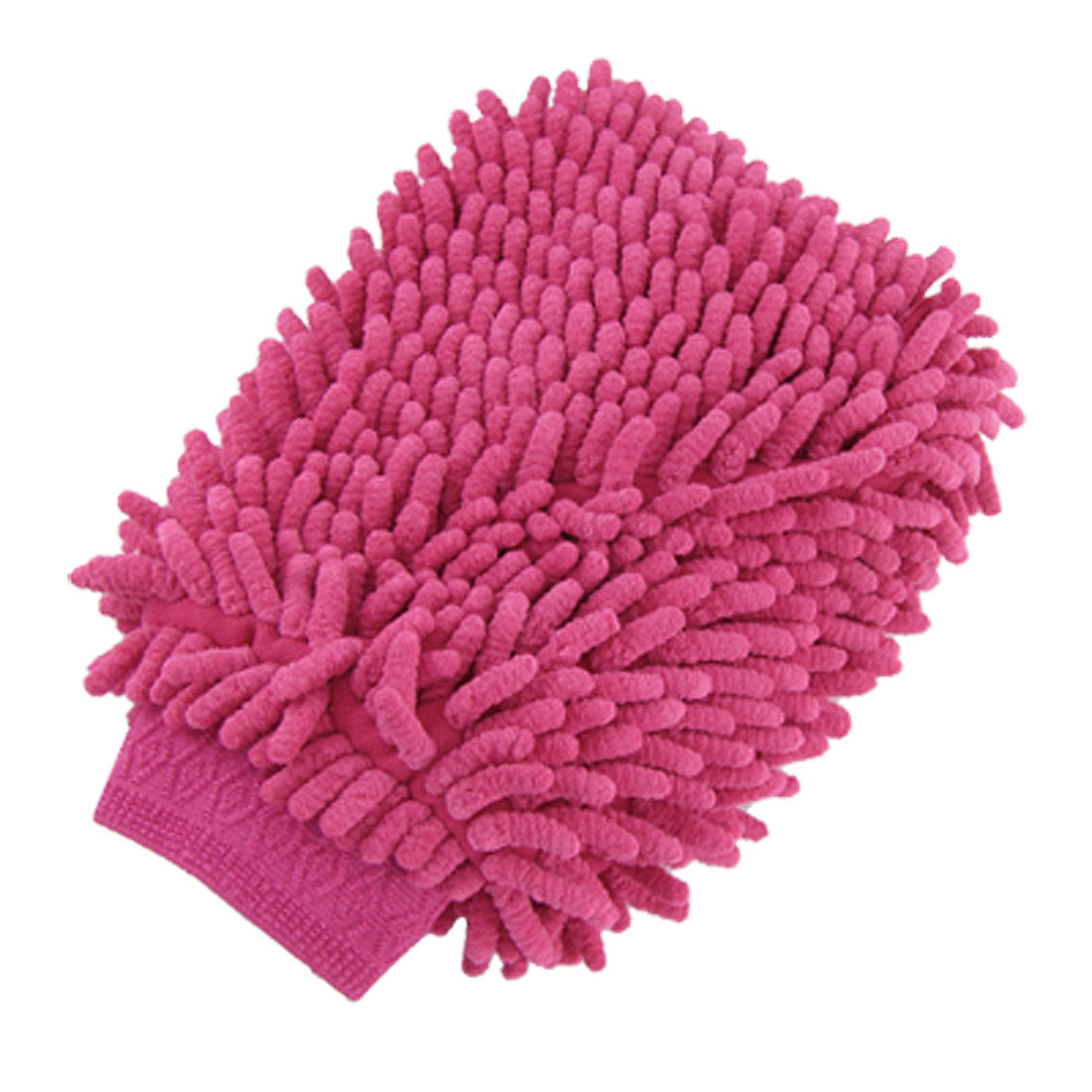 Fuchsia Double-side Cleaning Washing Microfiber Mitten Glove for Car Auto