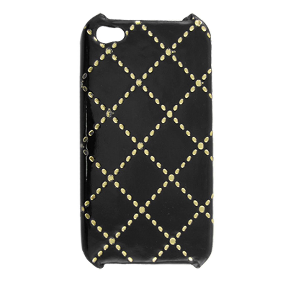 Black Faux Leather Coated Plastic Rhombus Pattern Cover for iPhone 4 4G