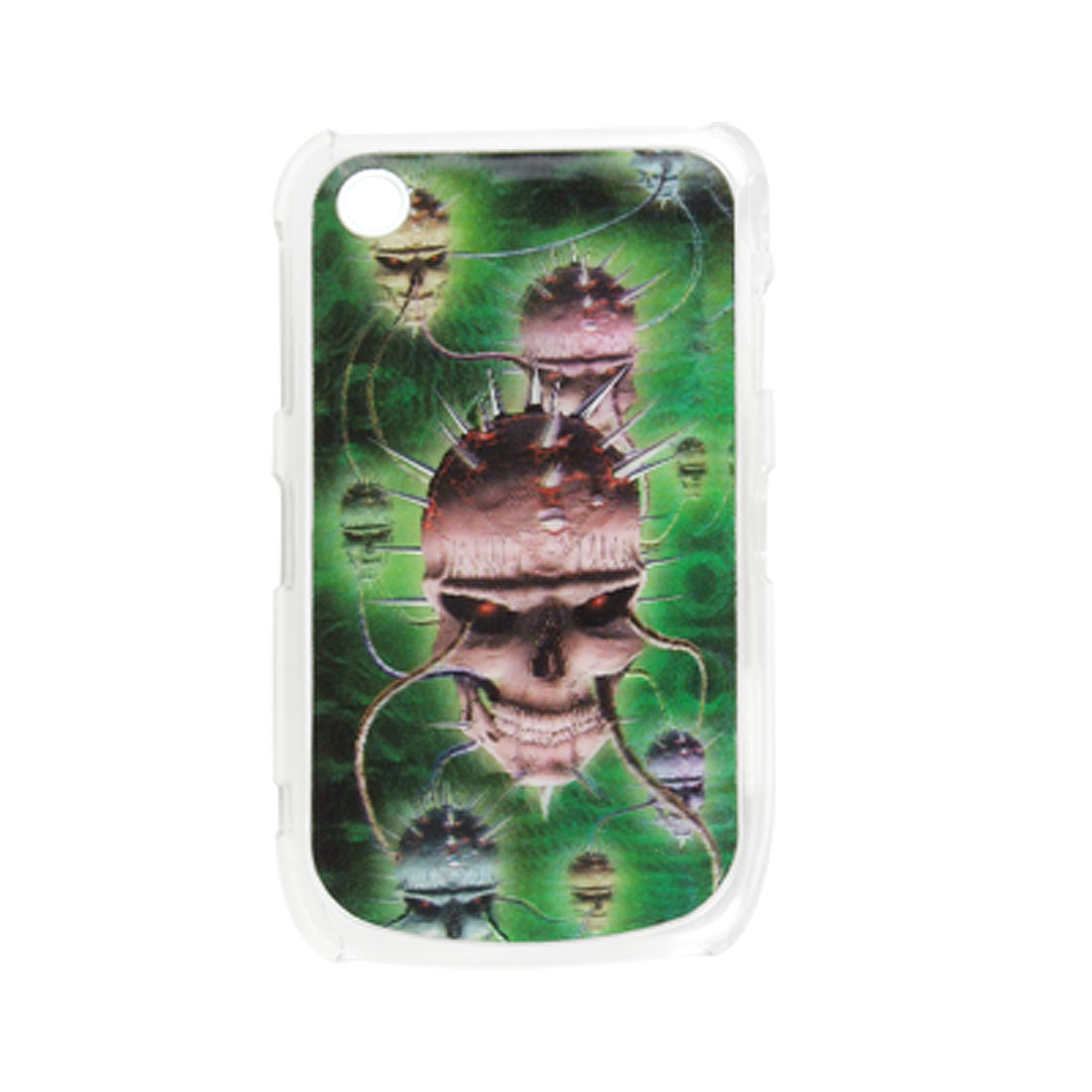 Green 3D Skull Plastic Case Cover for BlackBerry 8520