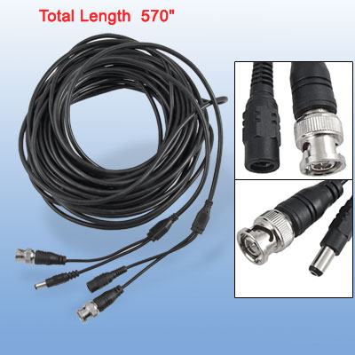 14.5m BNC DC Video Power Cable for CCTV Surveillant System