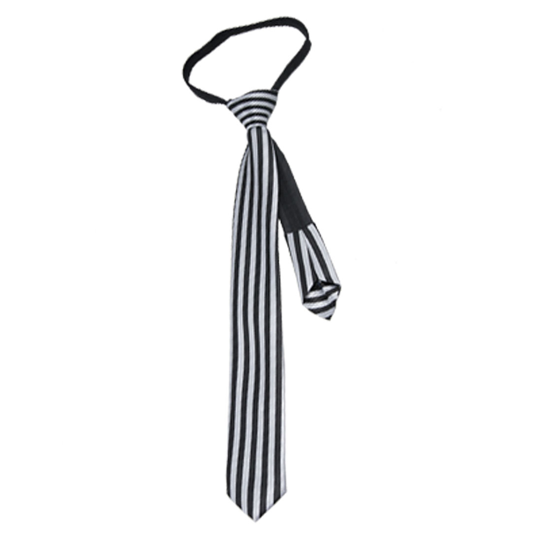 Black Gray Zip Up Vertical Stripe Polyster Necktie Tie for Child
