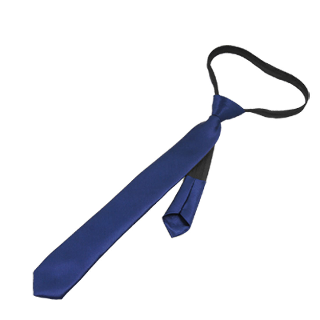 Dark Blue Polyster Adjustable Kids Child Zipper Necktie Tie