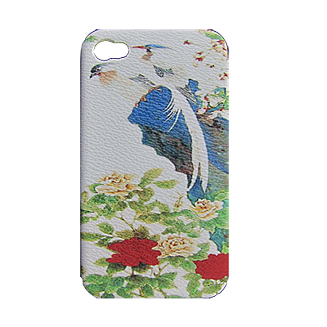 Peony w Bird Print Faux Leather Coated Hard Plastic Back Protector Cover for iPhone 4 4G