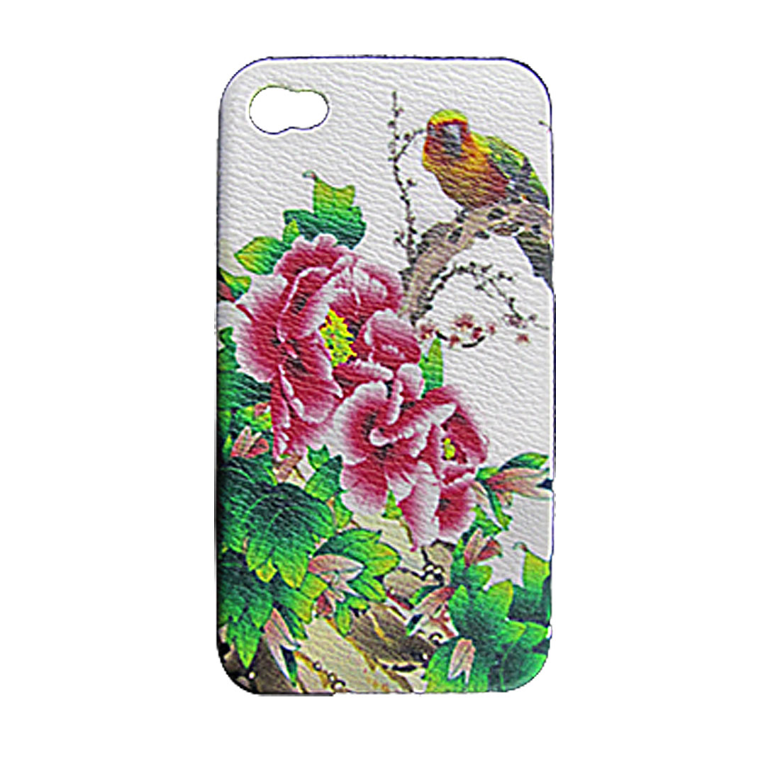 Colorful Flower w Bird Back Shell Faux Leather Coated Plastic Cover for iPhone 4 4G