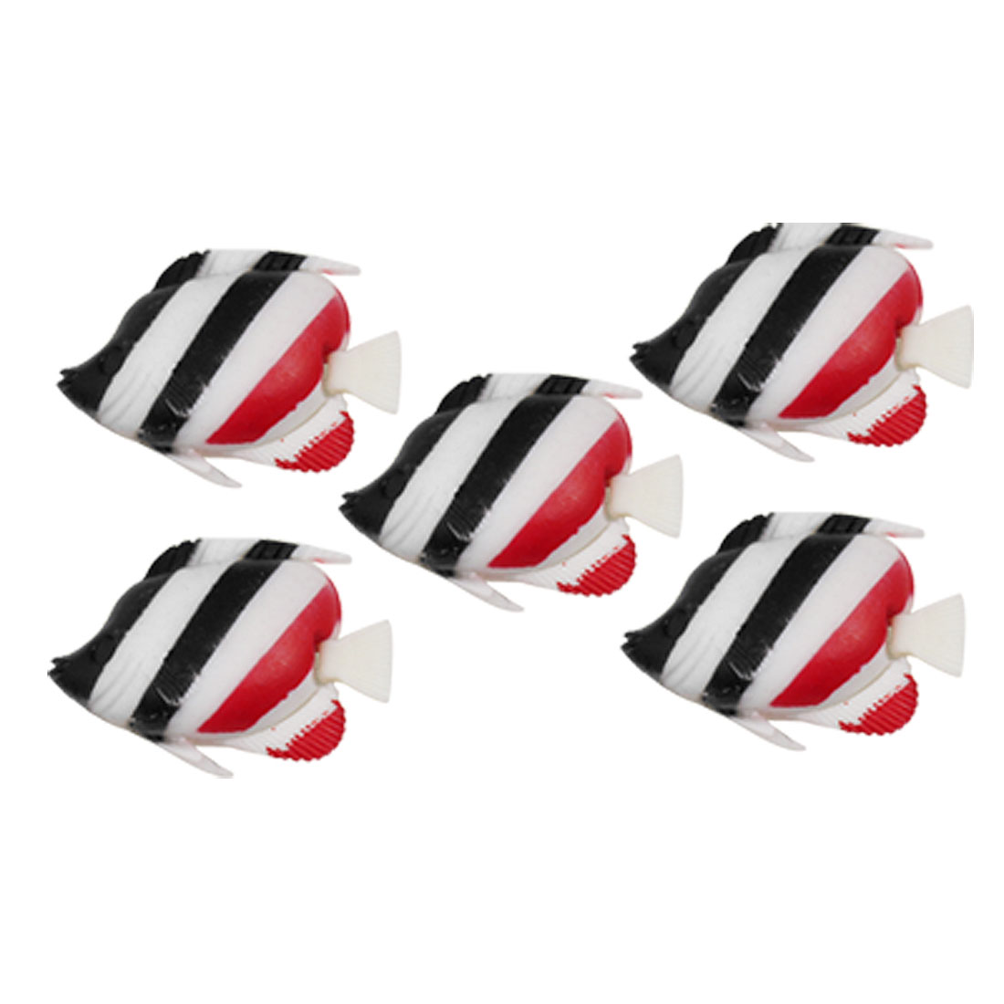 5pcs Black Red Stripes Plastic Wiggling Tail Floating Fish for Aquarium