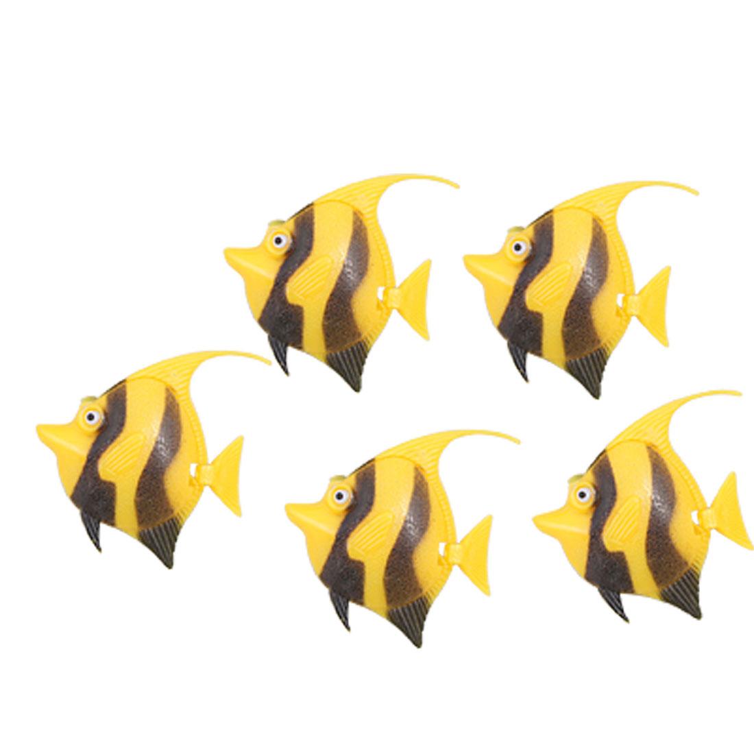 5pcs Black Yellow Stripes Plastic Floating Fish Aquarium Decoration