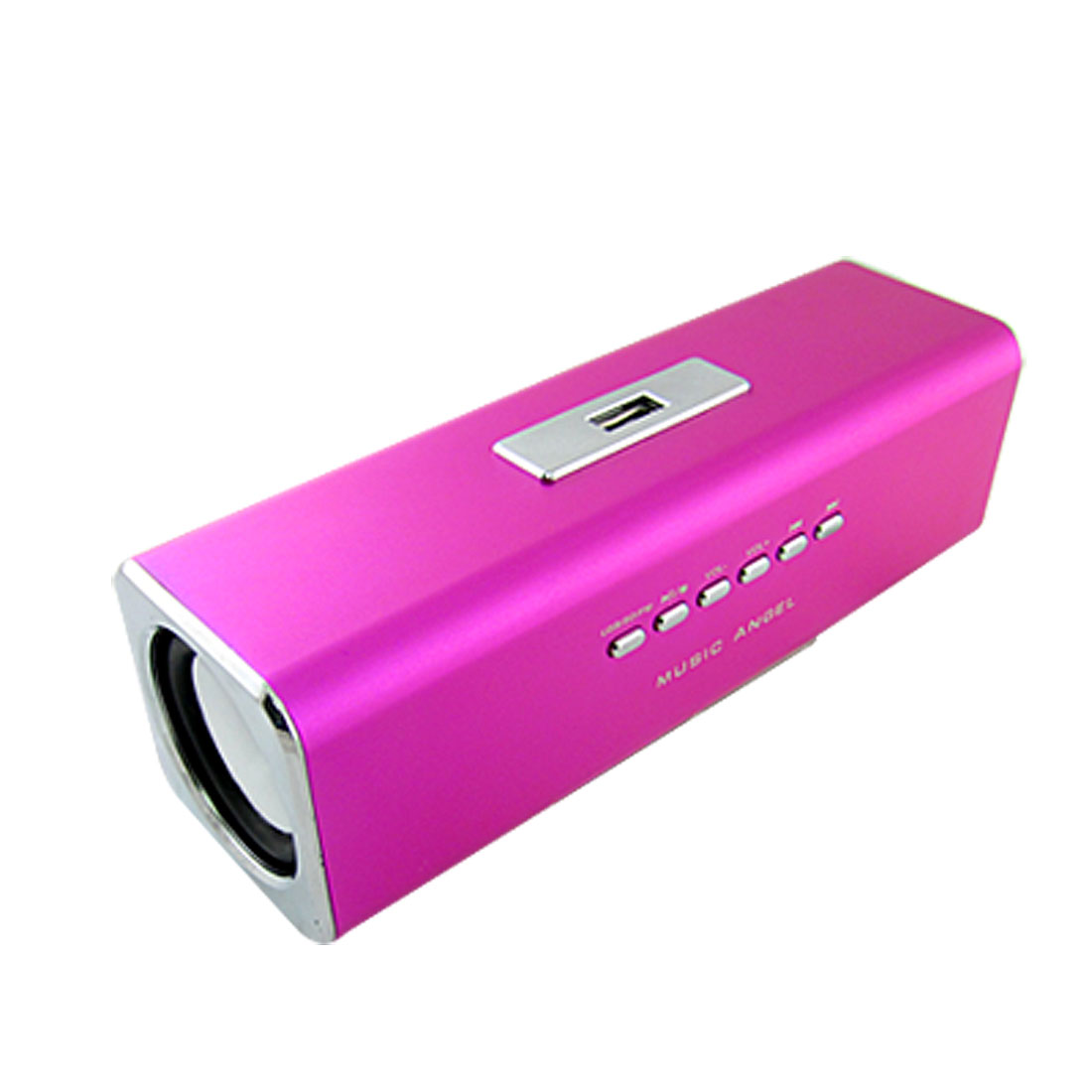 Hot Pink Portable FM Audio Design USB Speaker Sound Box w SD Card Slot