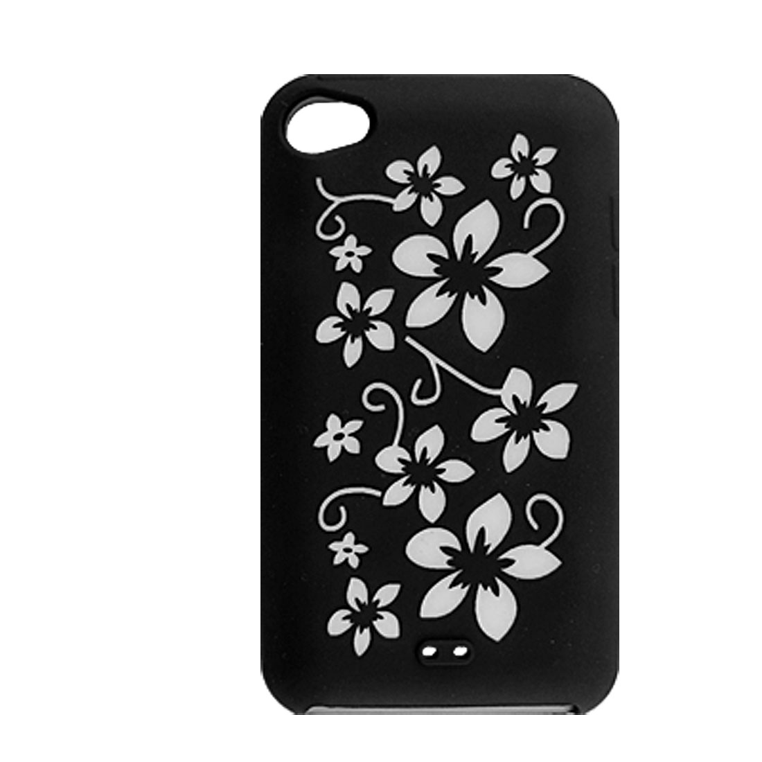 Floral Silicone Skin Protector Cover for iPod Touch 4G Black