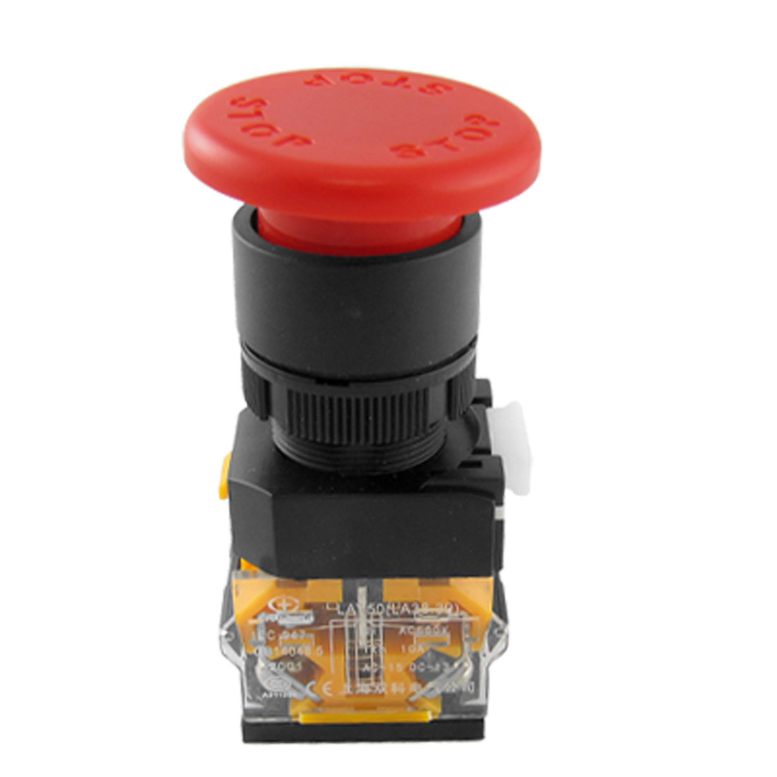 40mm Red Sign Momentary Mushroom Push Button Switch 1 NO NO 1 NC N/C 10A 660V AC