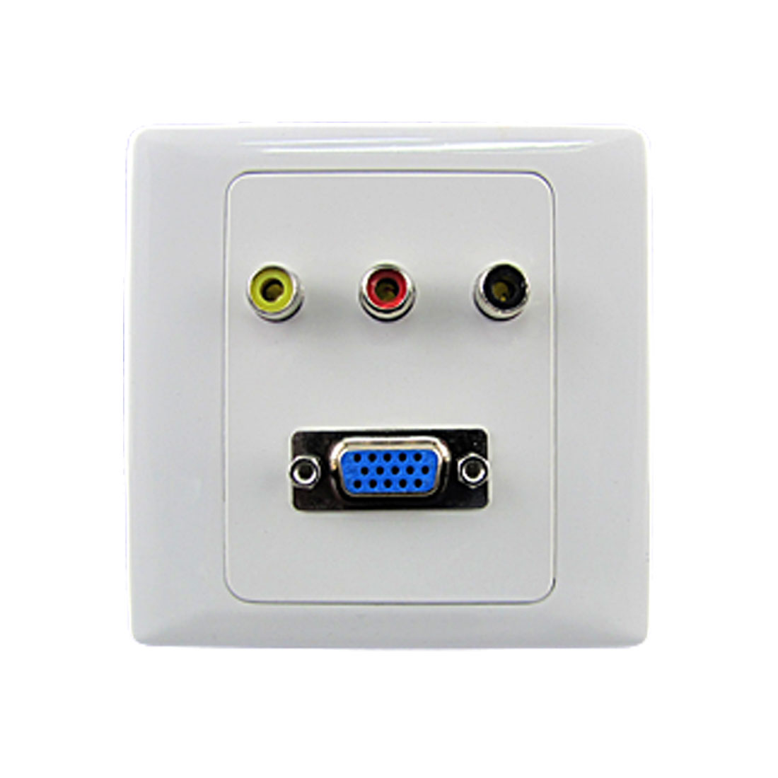 White Vedio 3 RCA Female Jacks + VGA Wall Mount Plate