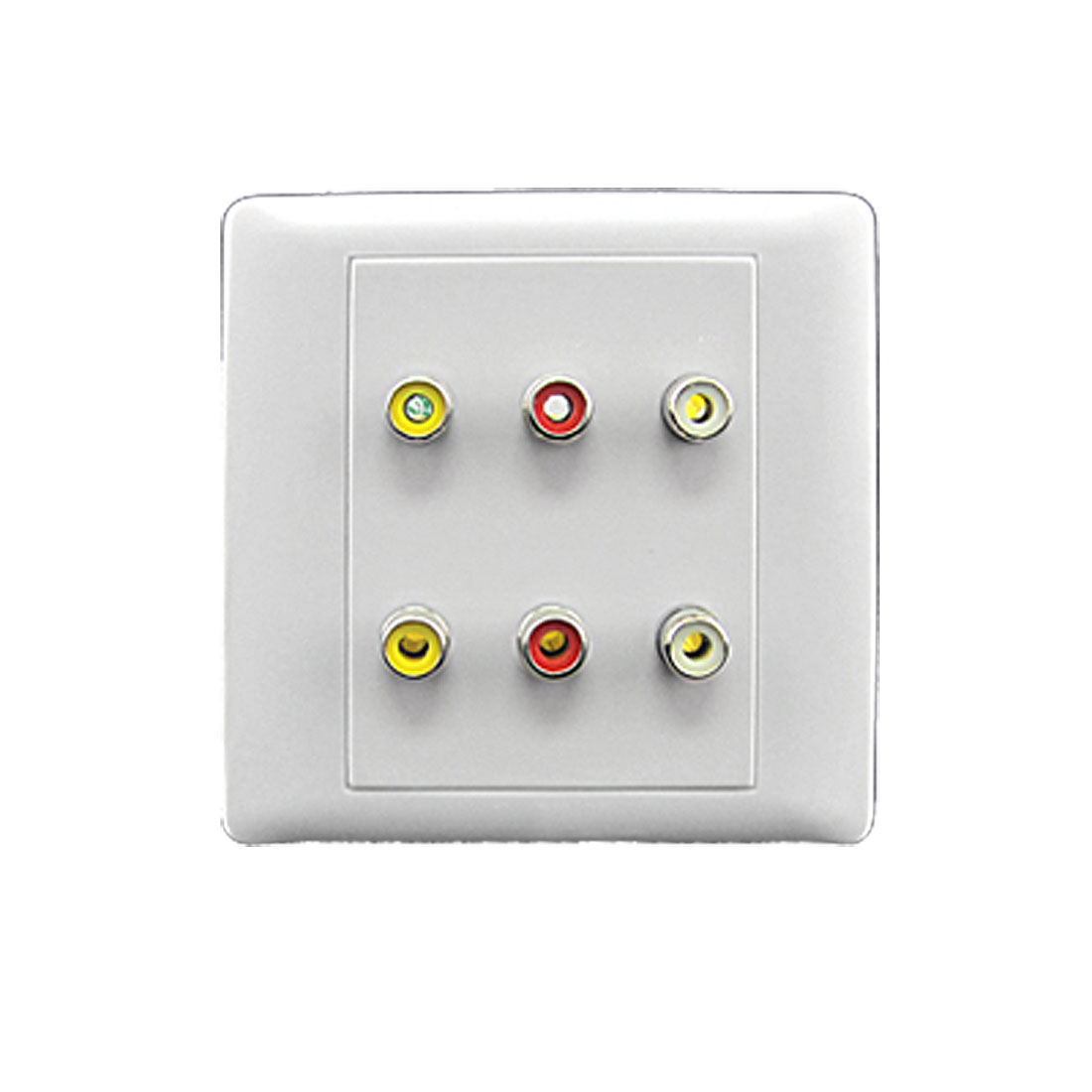 Square White Vedio 6 RCA Female Jacks Wall Mount Plate