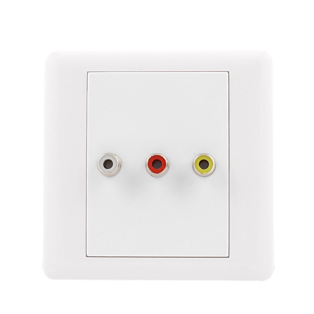 Square White Vedio 3 RCA Female Jacks Wall Mount Plate