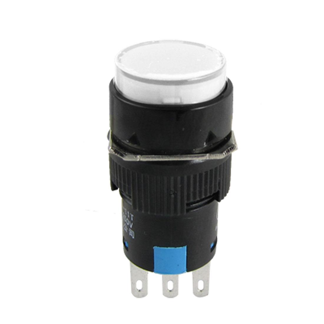 Mini AC 250V Self-locking White Cap Push Switch Black