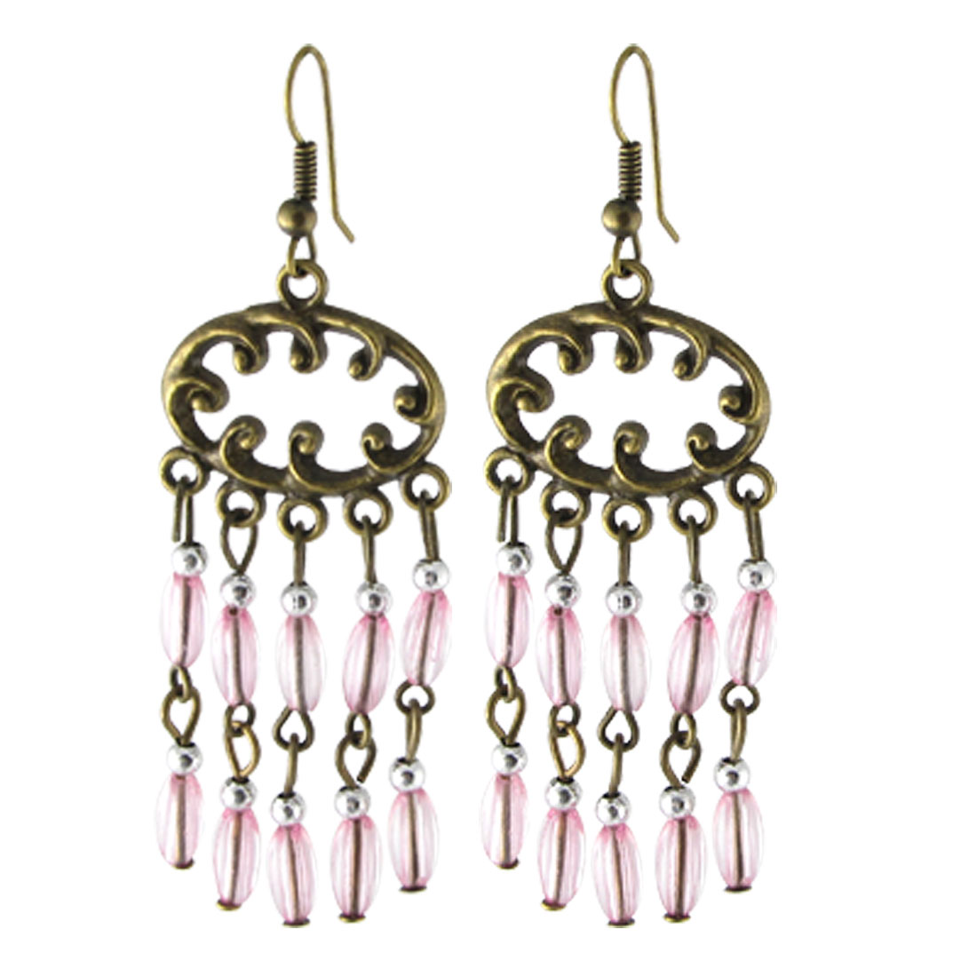 Bronze Tone Metal Dangling Earrings w Decorative Pink Plastic Beads