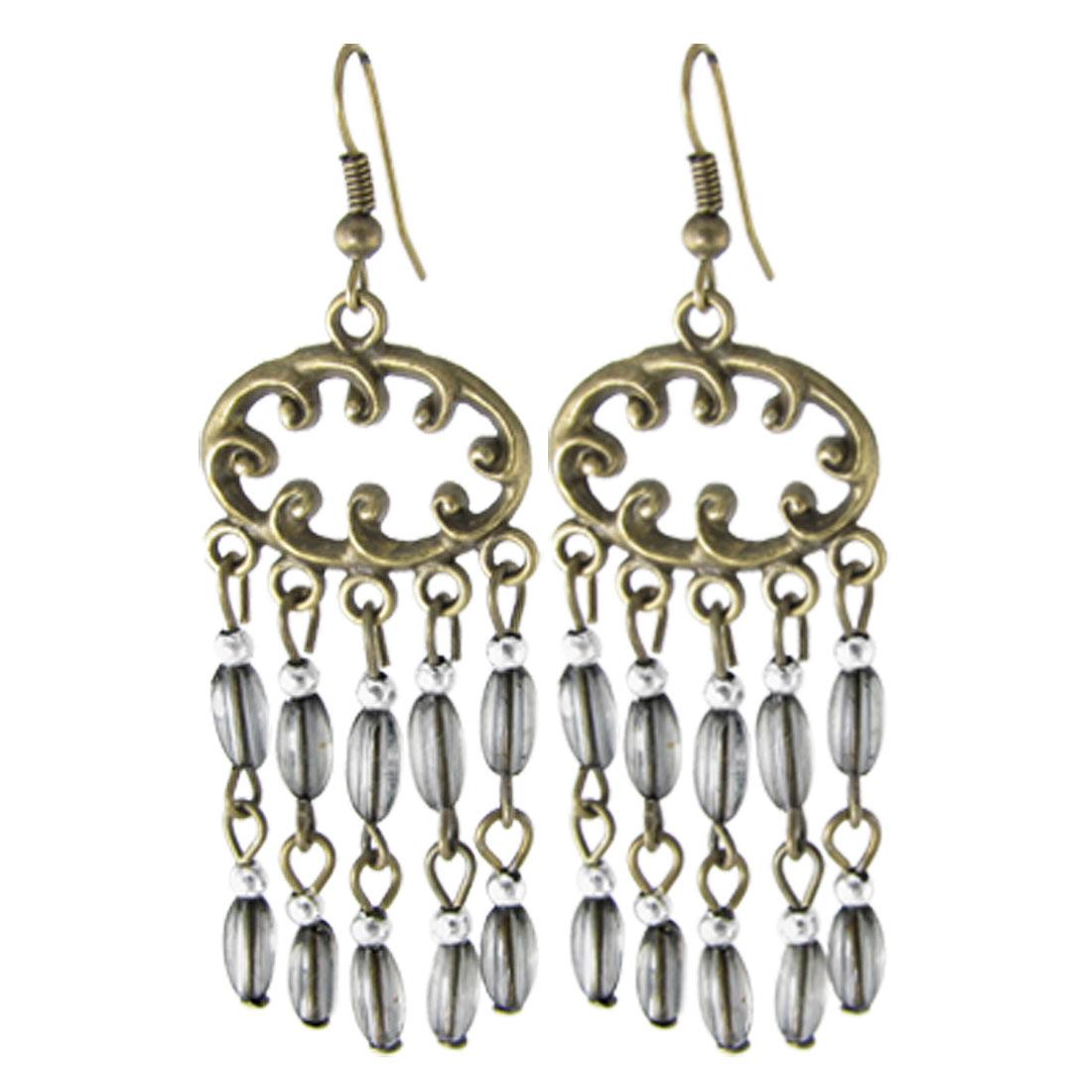 Ladies Bronze Tone Metal Dangling Earrings w Clear Black Plastic Beads