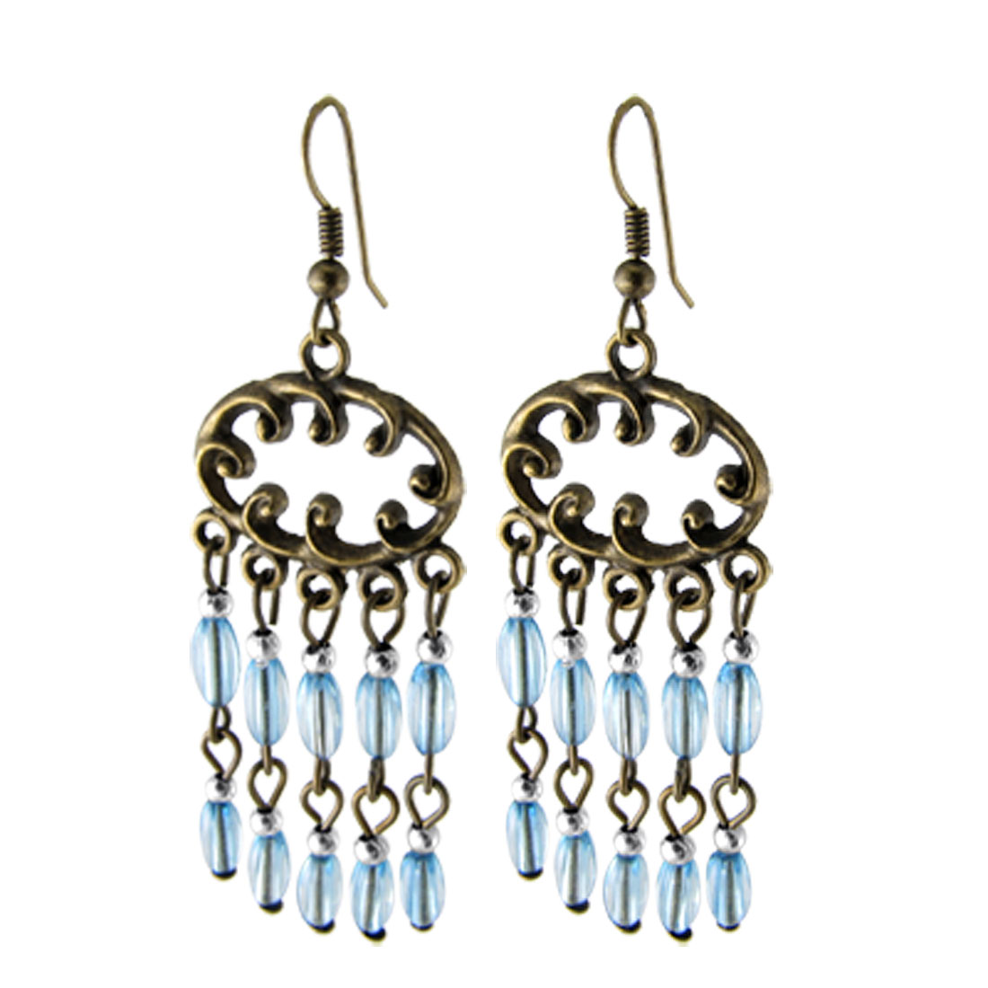 Dangling Clear Light Blue Plastic Beads Decor Bronze Tone Metal Earrings for Ladies