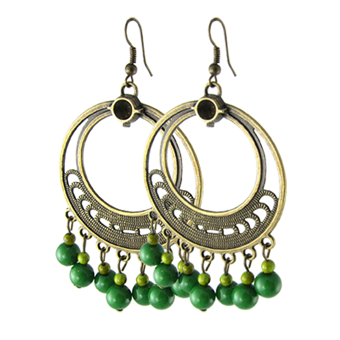 Pair Ladies Bronze Tone Round Loop Dangling Green Beads Ear Hook Earring