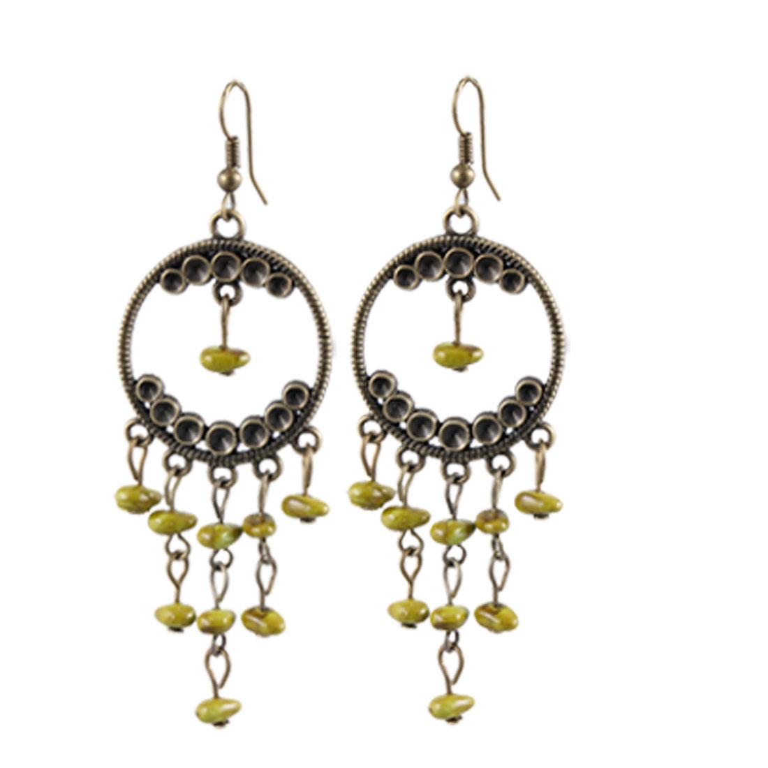 Circle Bronze Tone Hoop w Bead Hook Dangling Earrings