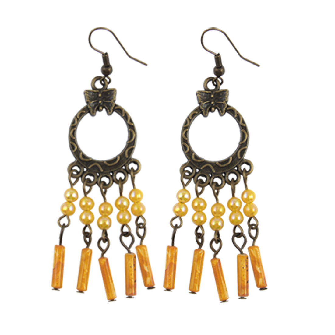 Retro-styled Beads Pendant Bronze Tone Ear Hook Earrings