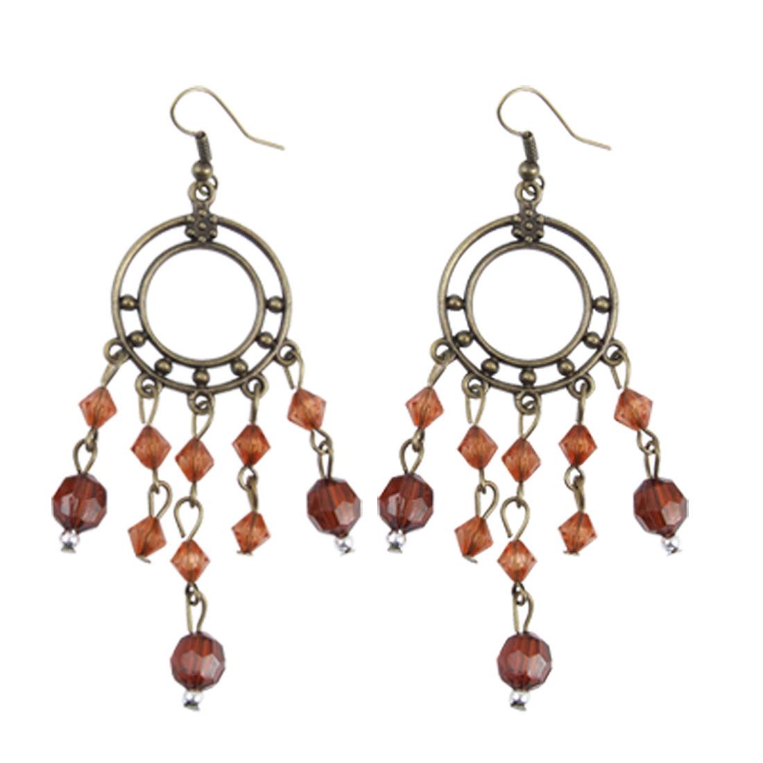 Elegant Retro-styled Plastic Beads Pendant Hook Dangling Earrings