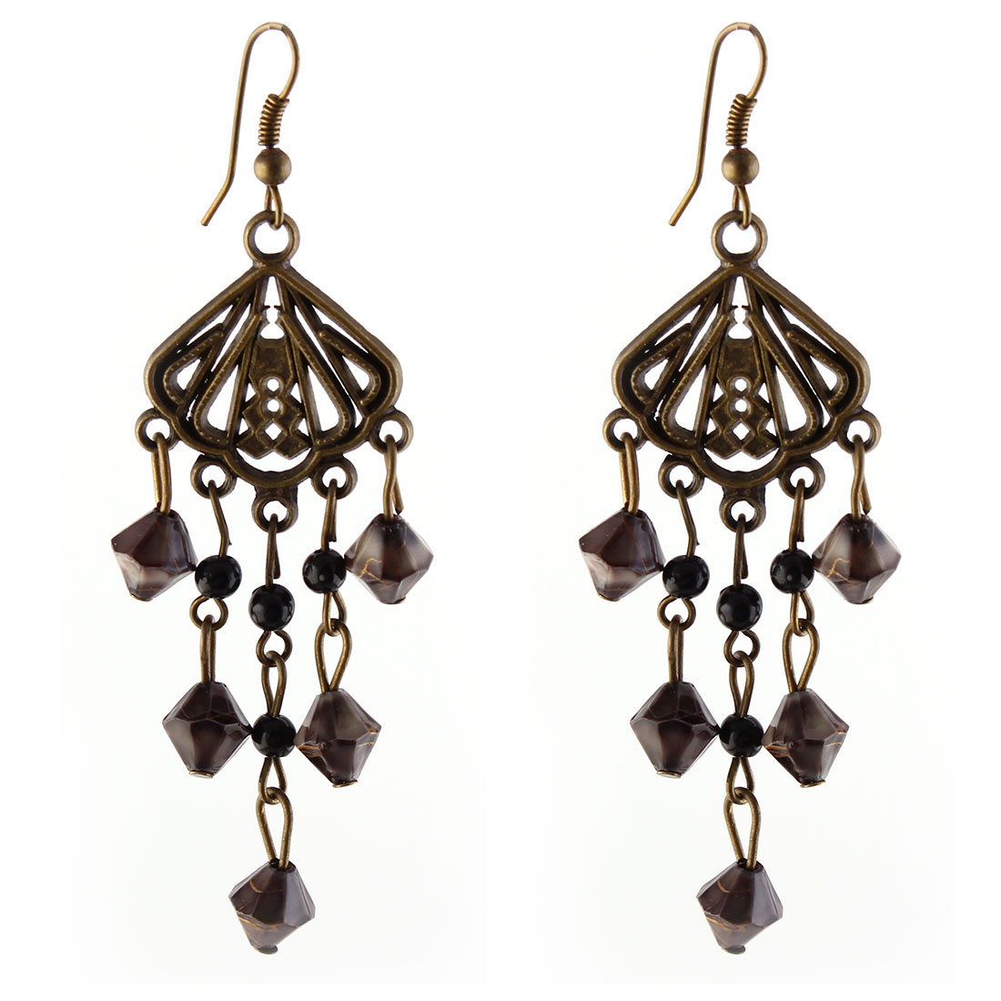 Lady Pair Gray Beads Bronze Tone Dangling Earring Eardrop