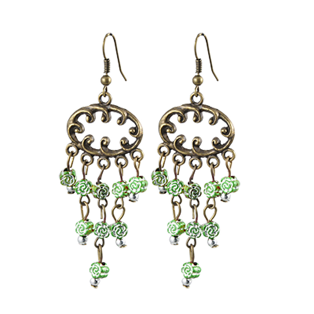 Lady Green Floral Bead Decor Bronze Tone Pendant Dangling Earrings