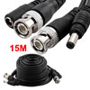 CCTV CCD Camera Video Power Extension Cable Black w Male BNC Connector 15m Long