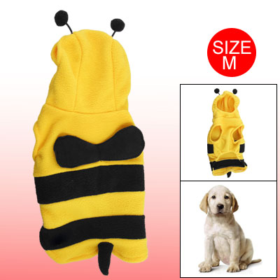 Yellow Black Honey Bee Sleeveless Costume M for Dog Pet