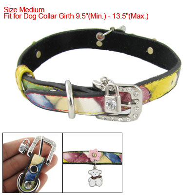 Floral Detailing Colored Band Faux Leather Dog Collar Sz M