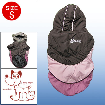 Brown Pink Hooded Winter Warm Coat Apparel S for Dog Pet