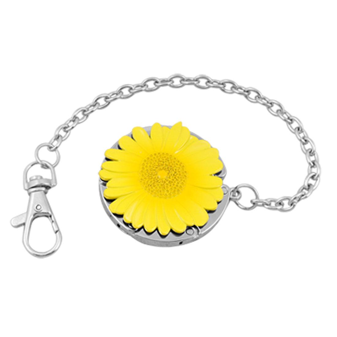 Yellow Chrysanthemum Swivel Clasp Keychain Folding Handbag Hook