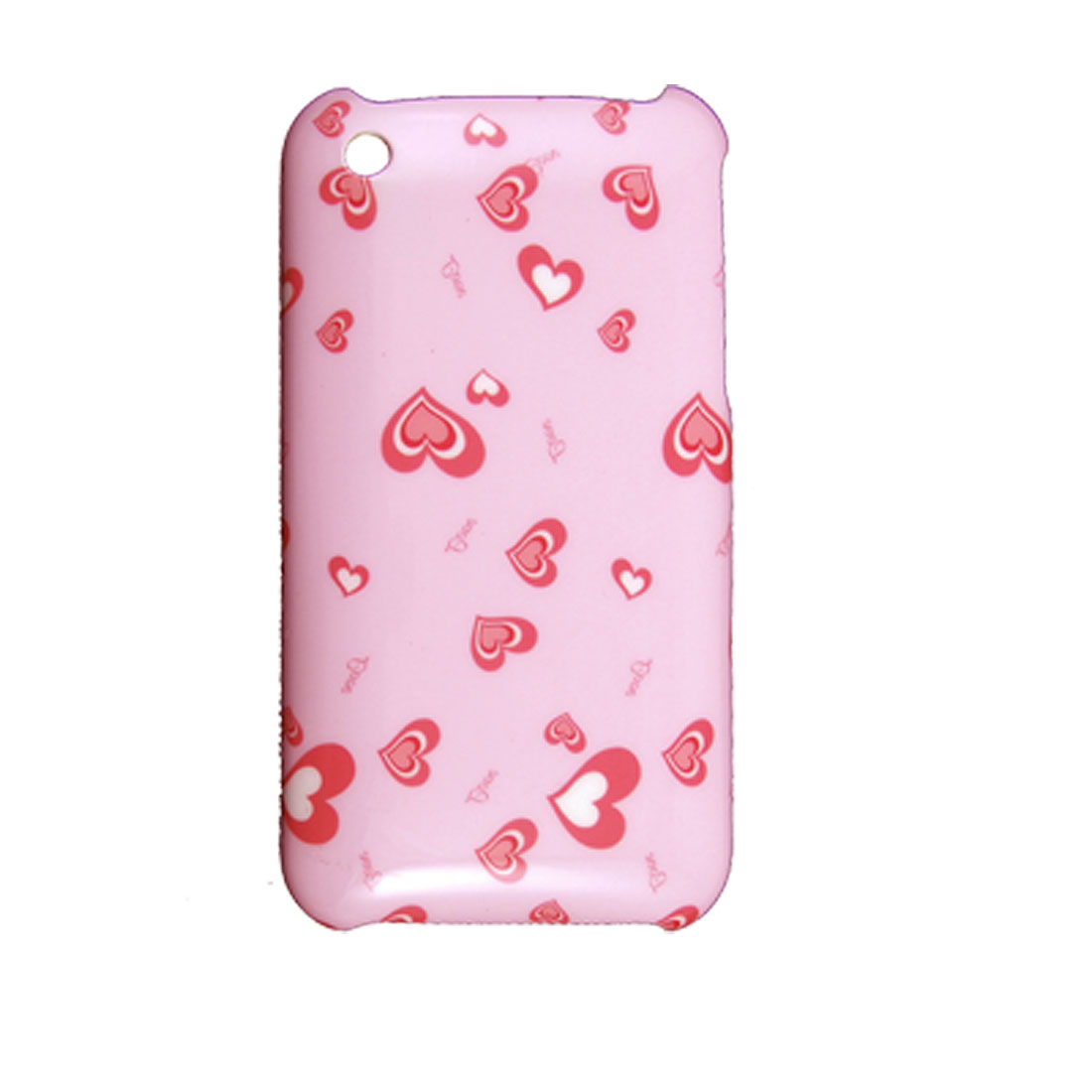Heart Pattern Pink Plastic IMD Hard Case for iPhone 3G 3GS