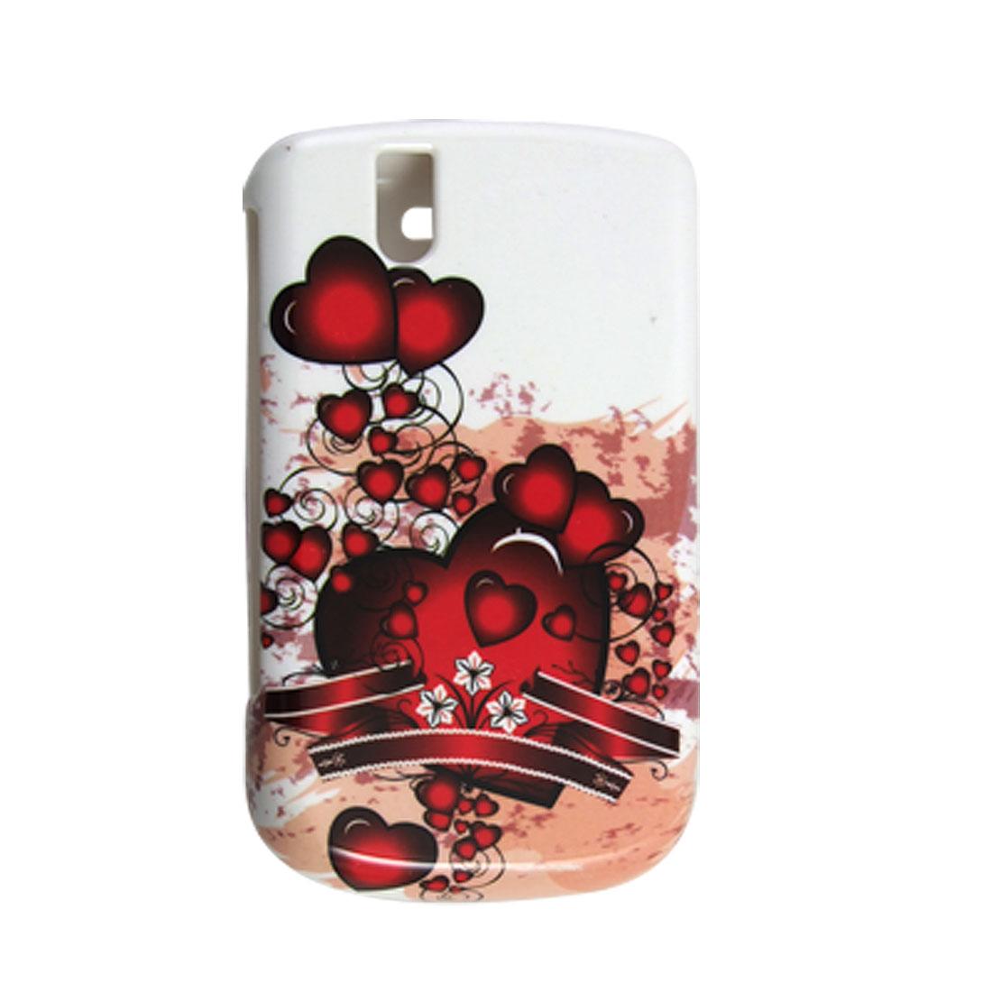 Heart Pattern White Hard Plastic Case Cover for Blackberry 9630