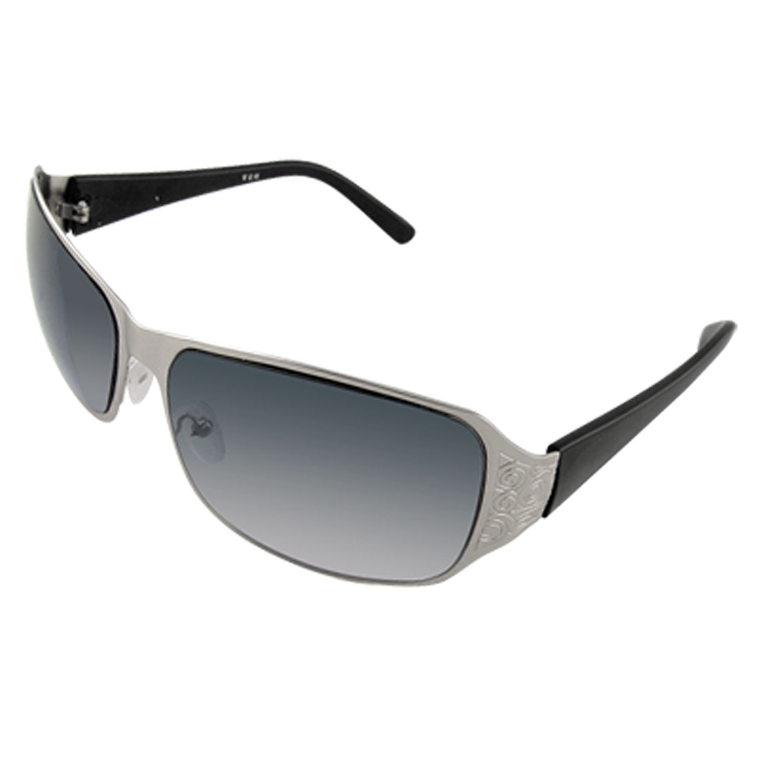 Silver Tone Metal Frame Black Arms Men UV Protection Eyewear