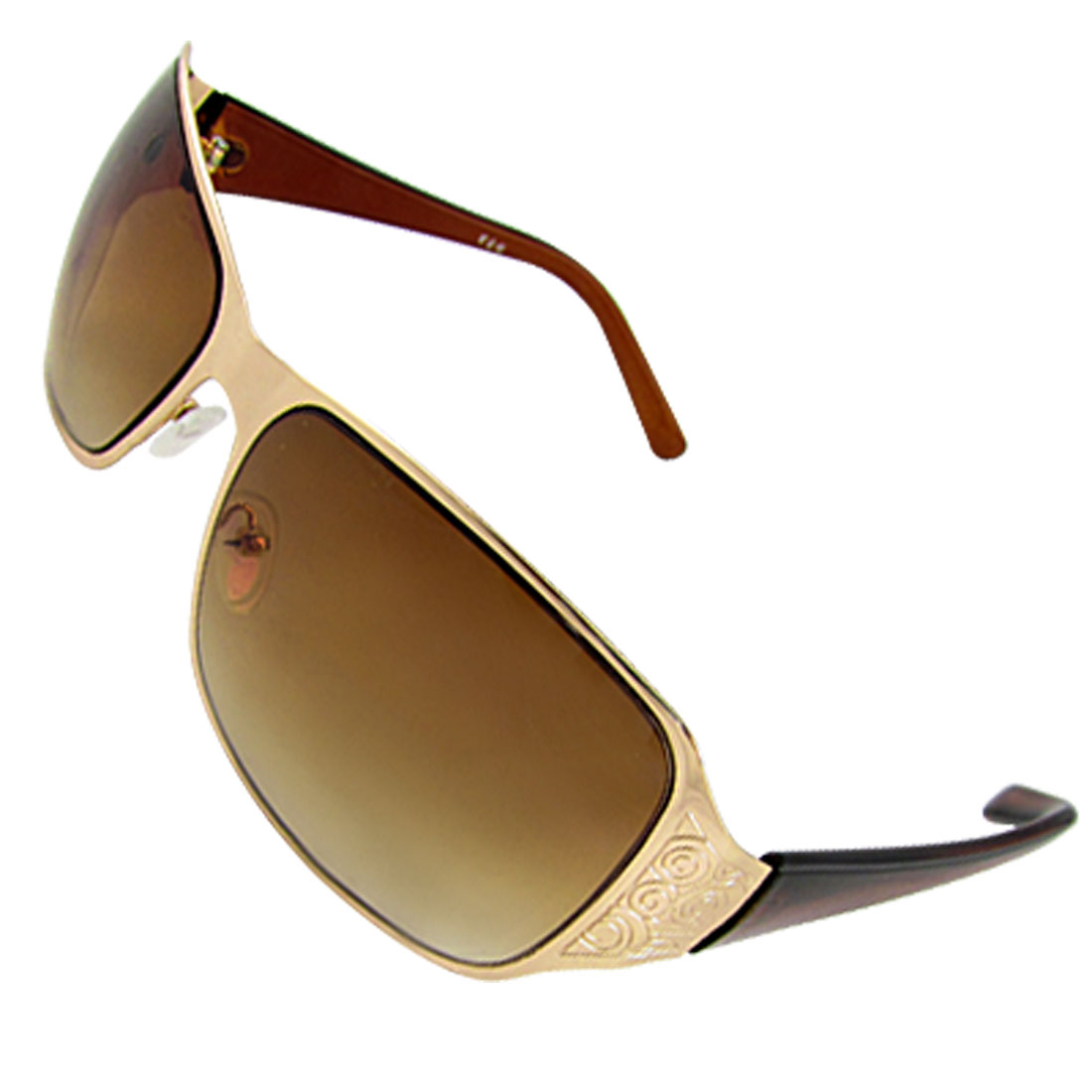 Gold Tone Frame Gradient Tawny Lens Sunglasses for Men