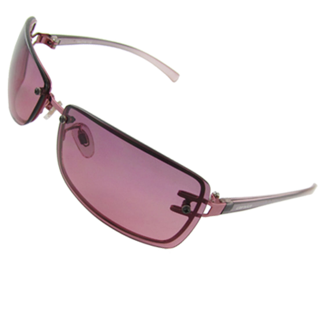 Unisex Clear Red Rectangle Lens Plastic Arms UV Protection Sunglasses